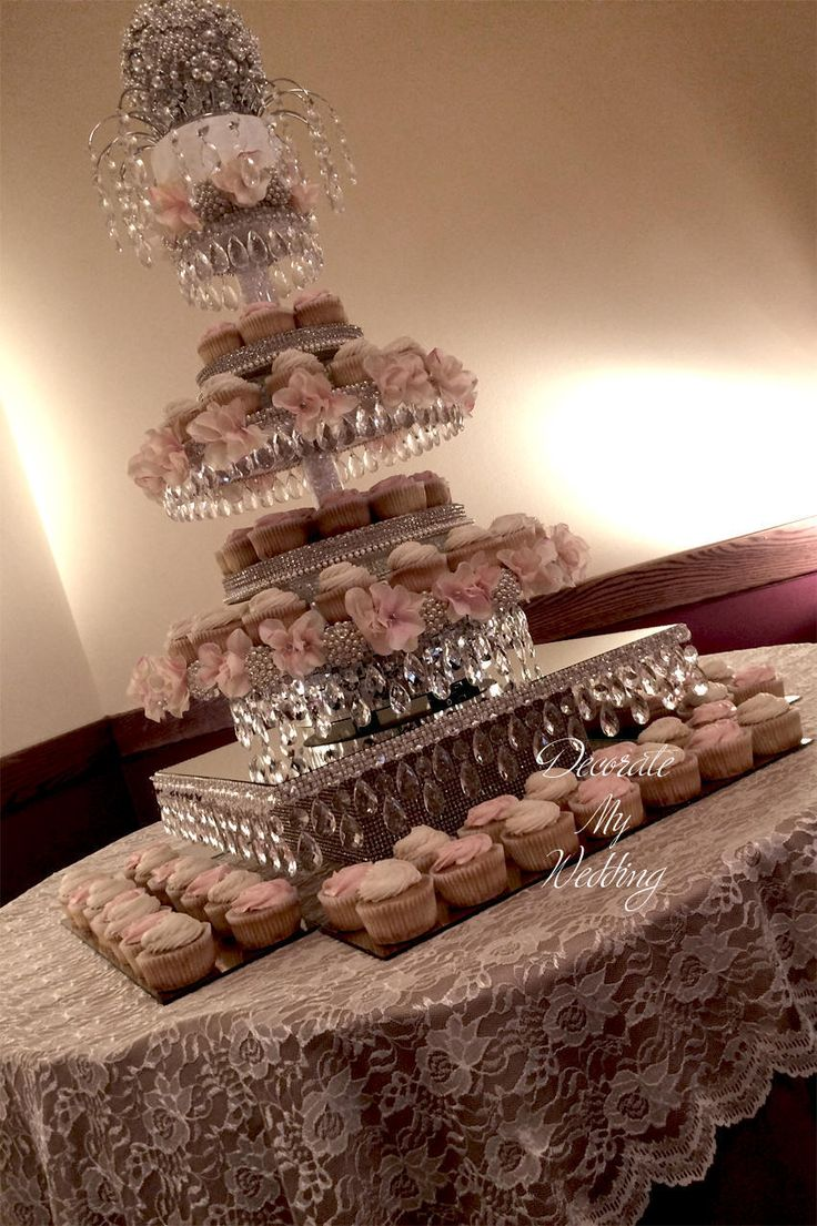 Uncategorized cupcake stands for weddings cheap - Revolving Crystal Cupcake Stand
