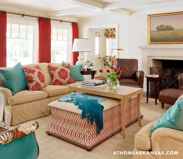 Red And Turquoise Living Room: Tobi Fairley & Associates