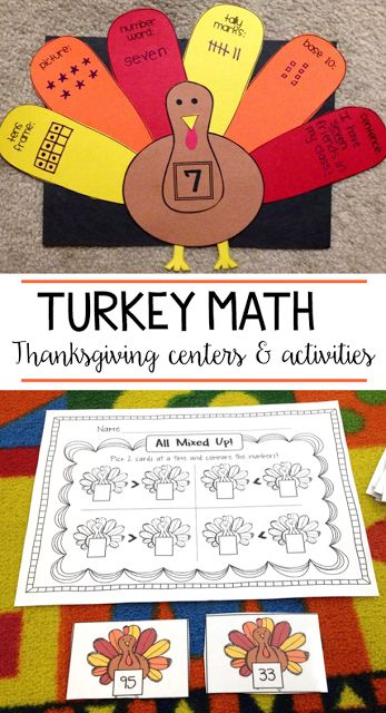 These are some of my favorite Thanksgiving math activities to use in my first and second grade class! Students make a number of the day turkey, create their own story problems, compare numbers and more!
