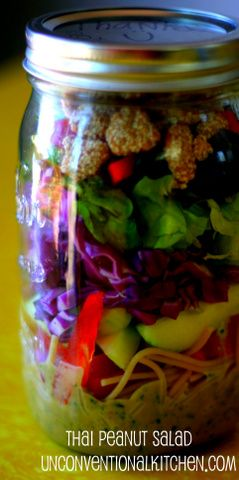 Mason jar thai peanut salad recipe - great to make ahead & bring with you on the go. I'll use rice noodles instead of spaghetti. Could use olive oil instead of grape seed oil.
