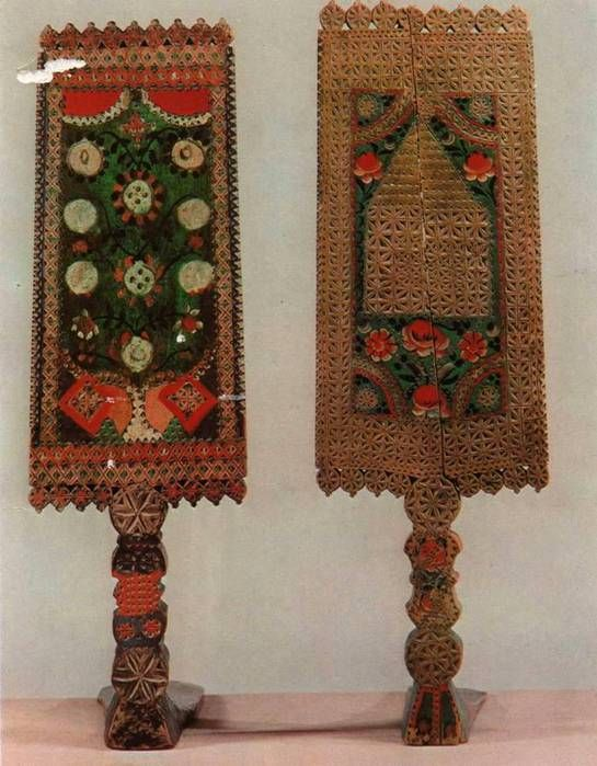 Carved and painted distaffs from Vologda