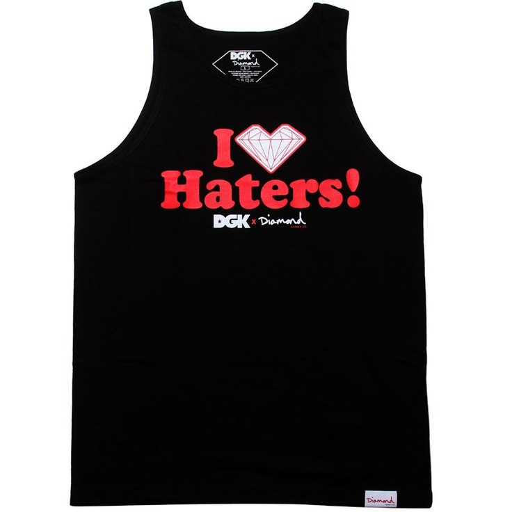 Diamond Supply Company and DGK's Haters tank top in black, red, and white