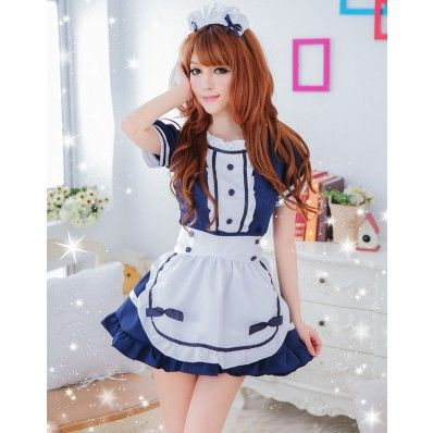 $16.11 - The three-piece set, Sweet French Maid costume includes a ruffle trim mini dress with an bow embellished white apron, matching maid headpiece.