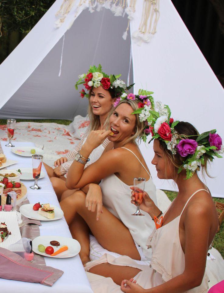Boho bridal shower, boho hens picnic, boho hens, boho, flower crowns, bohemian…