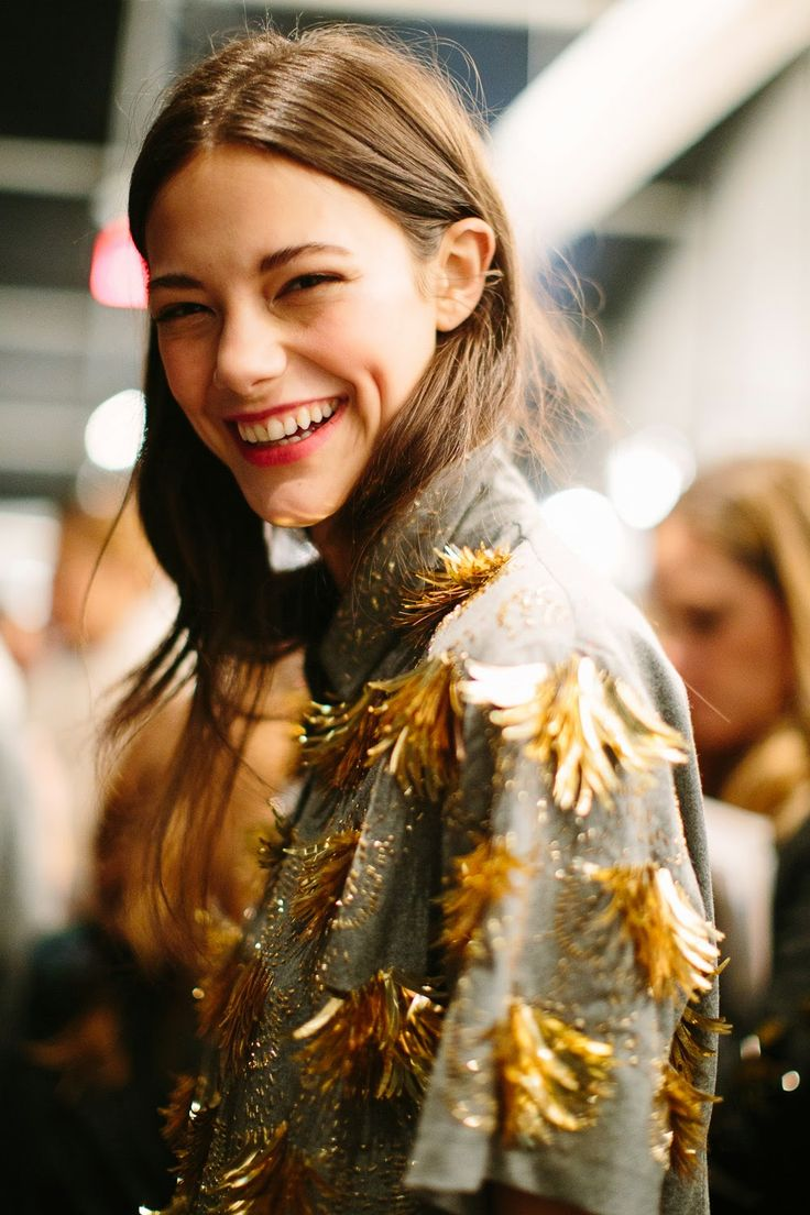 Photo from the JCrew FW show in NY and also Joanna's tips on how to look like a J.Crew model