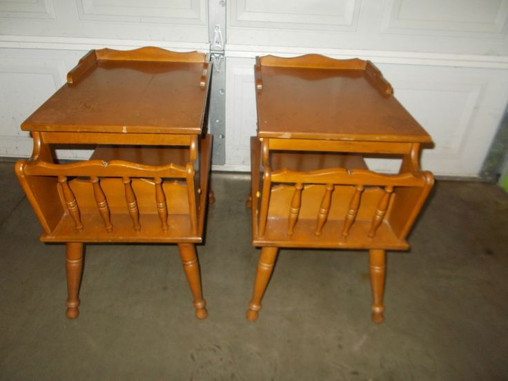 Attractive 2  Matching Vintage SOLID WOOD END TABLES Mid Century Eames Era Magazine  Rack #