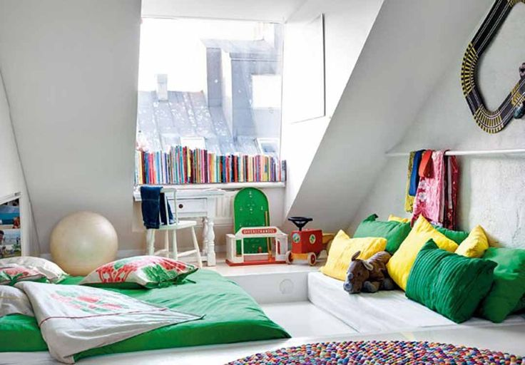 Elegant Teenage Girl Bedroom Themes Feat Amusing Green Bed Giant Yellow Pillows Sloping Ceiling Design Book Order Large Glass Window And Seldom Ceiling Design With Sloping Ideas