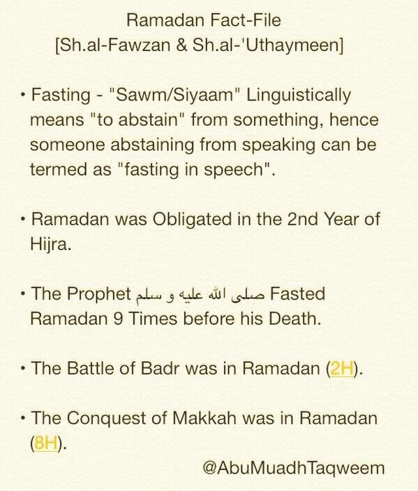 Brief facts about Ramadan