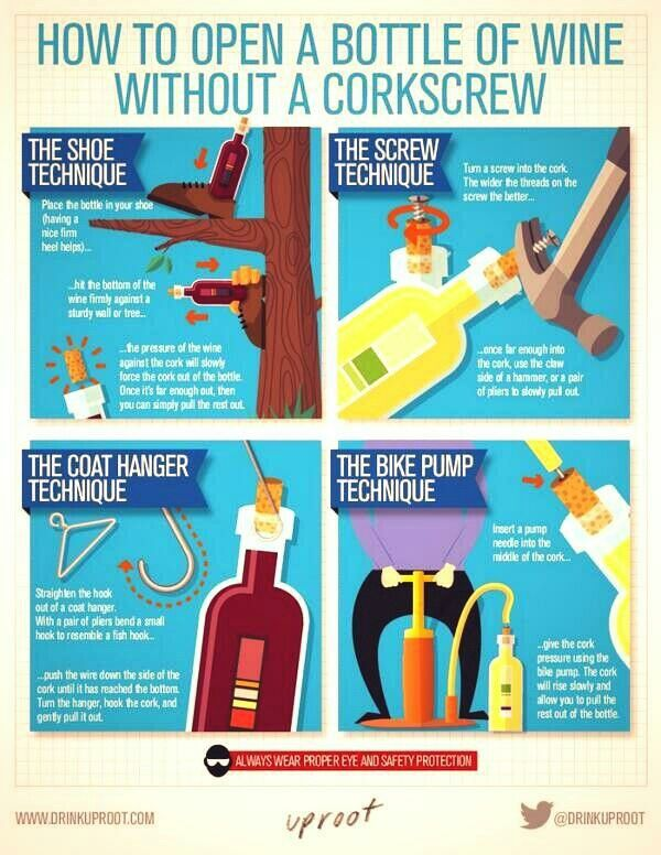 How to open wine without a corkscrew. #wine #SouthAfrica www.winewizard.co.za