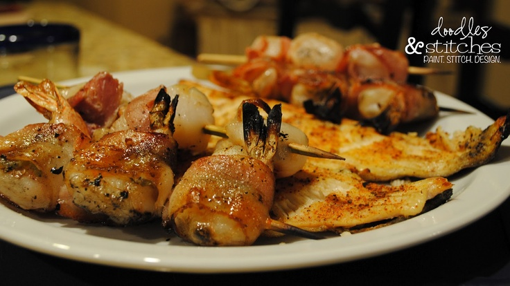 bacon wrapped shrimp & scallops... on the grill :)