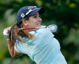 Mariajo Uribe of Colombia plays on the third hole during the second round of the Evian Masters women's golf tournament in Evian, eastern France, Friday, July 27, 2012. (AP Photo/Claude Paris)