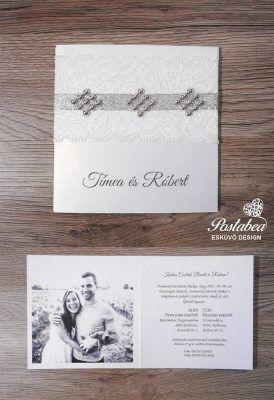 ezüst strasszos esküvői meghívó