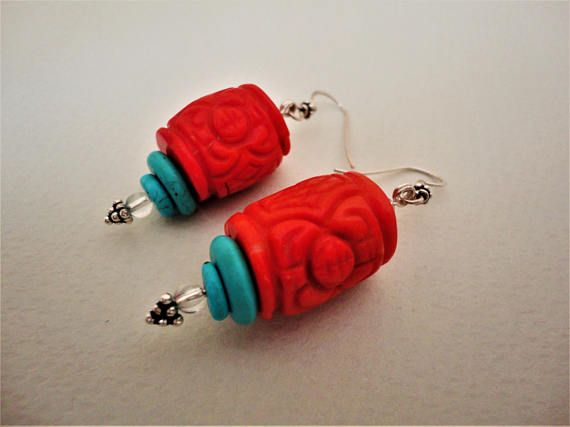 Coral Earrings with Turquoise. Coral Earrings. Turquoise