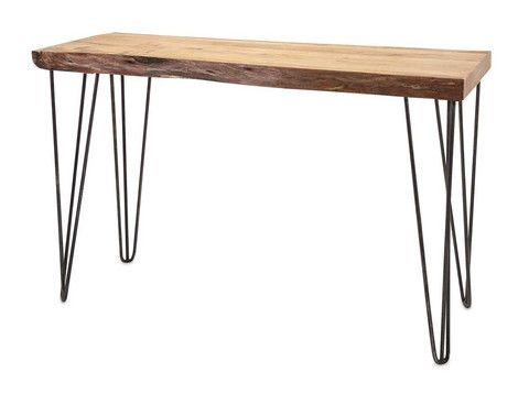 IMAX Crispin Acacia Wood Console - Clean lines and function define this beautiful mid-century modern console. Simple iron legs support a tabletop of solid acacia wood, accentuating the grain of the wood in its organic aesthetic.