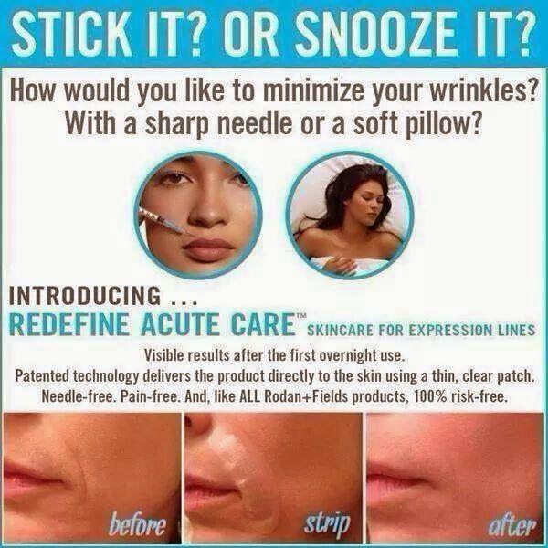 Wrinkles got you down?  Fill them while you sleep with Rodan + Fields Acute Care!  No needles required.  www.nreiser.myrandf.com