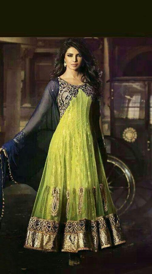 Priyanka Chopra In Light Green Bollywood Fashion Anarkali Suit BR503152