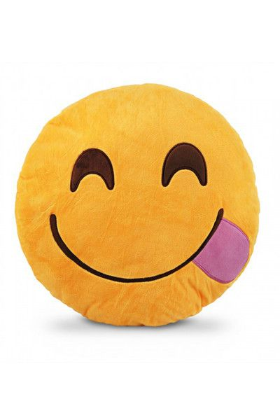 When words aren't enough Emoji Pillows let you say it with a smile! Now you can send a Tongue emoji in huggable pillow form. The same bright emojis you know and love work even when your phone drops de
