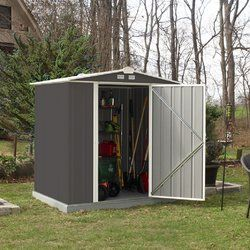 Introducing the EZEE 5 ft. 10 in. W x 5 ft. 2 in. D Metal Tool Shed, a shed that builds in half the time. It is a galvanized steel shed that is durable and made to last. It features the revolutionary Snap-IT Quick Assembly system that cuts assembly time down by 50% compared to most steel sheds on the market today. It has a reduced number of fasteners across walls, roof and doors and there are no more difficult nut/bolt connections - so assembly is faster and easier! The shed features a d...