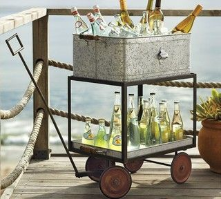 Galvanized Metal Rolling Wagon Party Bucket - eclectic - serveware - by Pottery Barn
