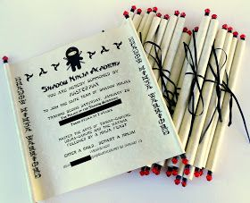 *Rook No. 17: recipes, crafts & whimsies for spreading joy*: Ninja Birthday Party, Part II ~Scrolled Invitation Tutorial