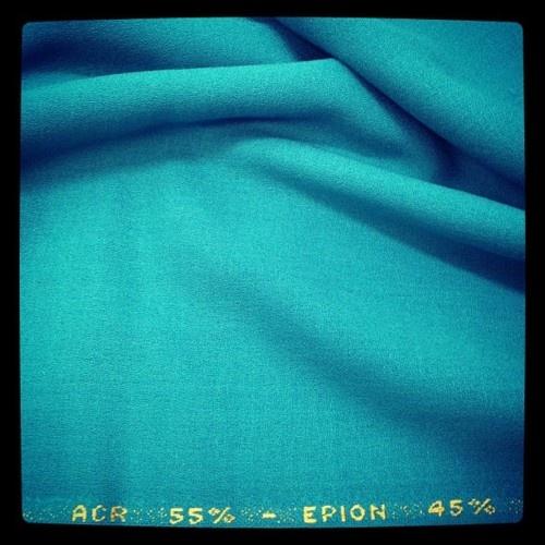 An amazing 1970s fabric. Crepe wool feeling.   55% Acrylic - 42% Epion - Color: Turquoise - Total Length: 4M - Width: 1,55M - Price: £60 - $92 - €75      #fabric #fabrics #textile #textiles #texture #wool #acrylic #crepe #swimmingpool #sea #turquoise #sale #london #dress #vintage #retro #70s #1970s #original
