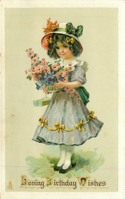 LOVING BIRTHDAY WISHES  girl has basket of mixwd flowers