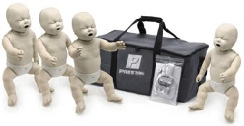 4-Pack of Infant CPR Manikins, Prestan: Achieve this with Prestan Professional's revolutionary new infant CPR manikin with Rate Monitor. The LED indicators allow for instant feedback to both instructor and student regarding their rate of chest compressions. Instructors can monitor several students quickly and easily, while students themselves can visually gauge their compression rate reinforcing more practice time using proper technique.