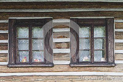 Windows in historic wooden  building  in the small city, Lanckorona next Krakow…