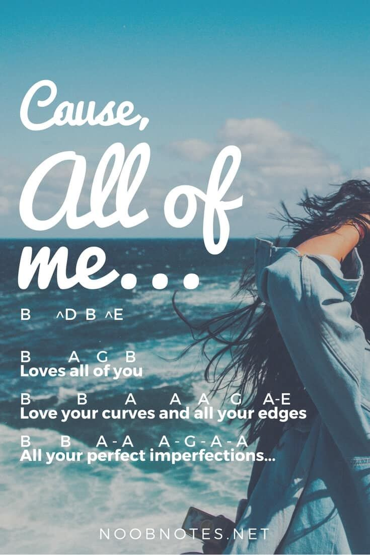"""""""All of Me"""" shot to number #1 around the world in 2014, and makes a great beginner practice piece for any instrument. Enjoy the letter notes below  A B B B B – B B G …"""