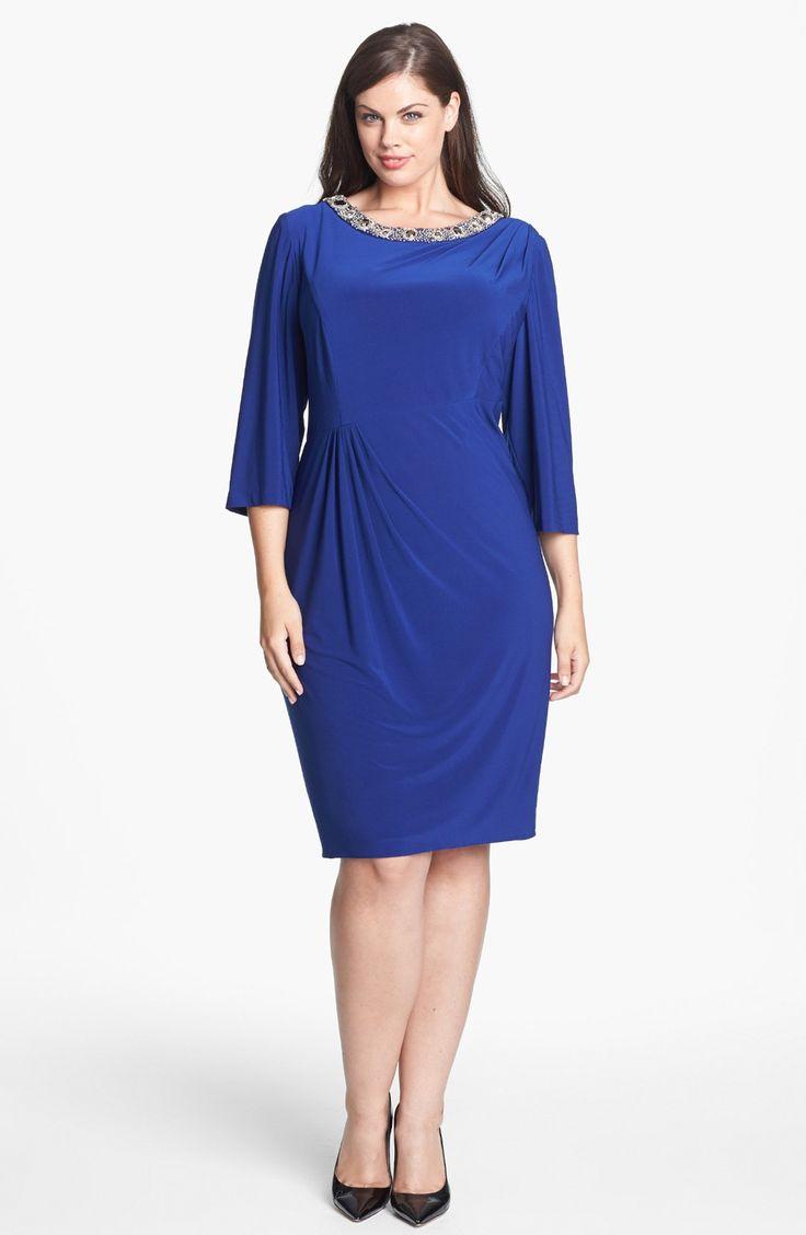 Alex Evenings Embellished Side Draped Jersey Dress (Plus Size)   Nordstrom
