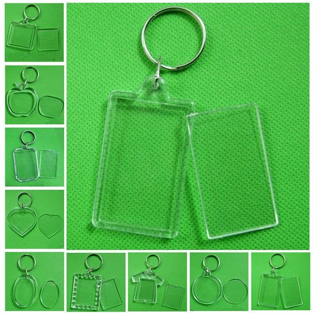 new product 951a5 c8975 Rectangle Transparent Blank Acrylic Insert Photo Picture Frame Keyring  Keychain DIY Split Ring Key Chain Gift Review