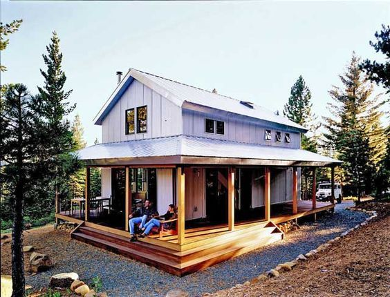 cosy metal building cabin w wrap around porch hq plans pictures - Metal Home Designs