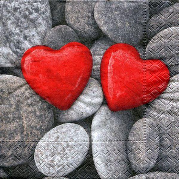 Serviett, 33x33 cm - Love stones