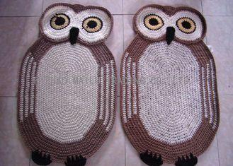 중국 가정 훈장 크로셰 뜨개질 반대로 타원형 깔개 - 크로셰 뜨개질 올빼미 양탄자 85cm x 55cm를 미끄러지십시오 협력 업체