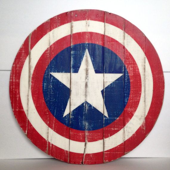 Add to your classic superhero decor with this round Captain America shield made from rustic pallet wood. It measures 20 across. It is painted