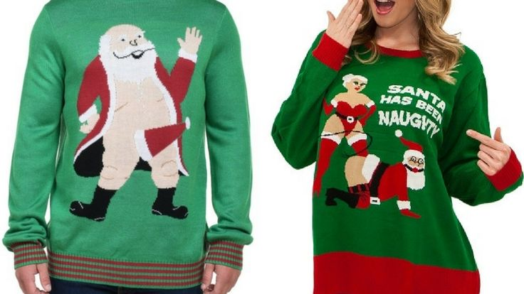 It's a little late for ugly Christmas sweaters. But I suppose it's never too late for inappropriate christmas sweaters right? You can make them at home or y #christmas #sweater #holidays