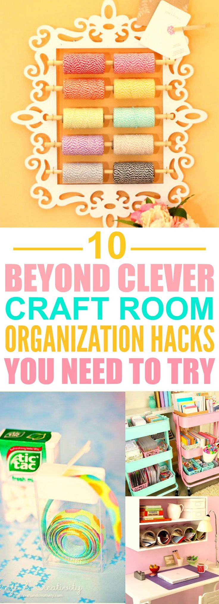 These 10 Clever Craft Room Organization Hacks are THE BEST! I'm so happy I found these AMAZING ideas! Now my craft room will look so good I'm definitely pinning for later!