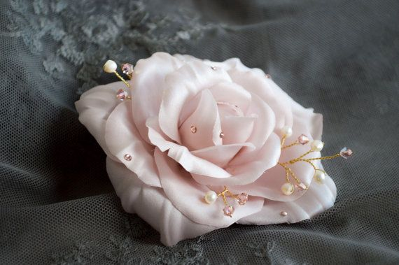 Birdal Hair Flowers - Bridal Hair Accessories -  Blush Rose -  Floral Hair Comb - Vintage Style - Hair Jewelry -