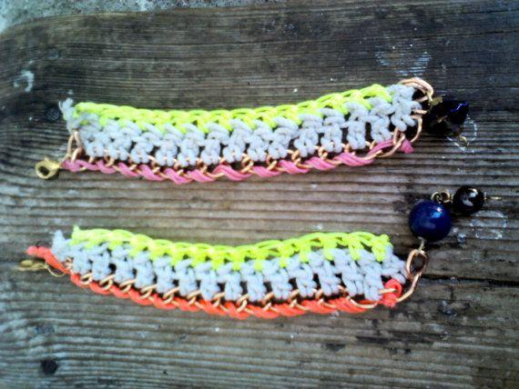 2 Πλεκτά βραχιόλια με αλυσίδα / 2 crochet chain by bizeli on Etsy, €10.00