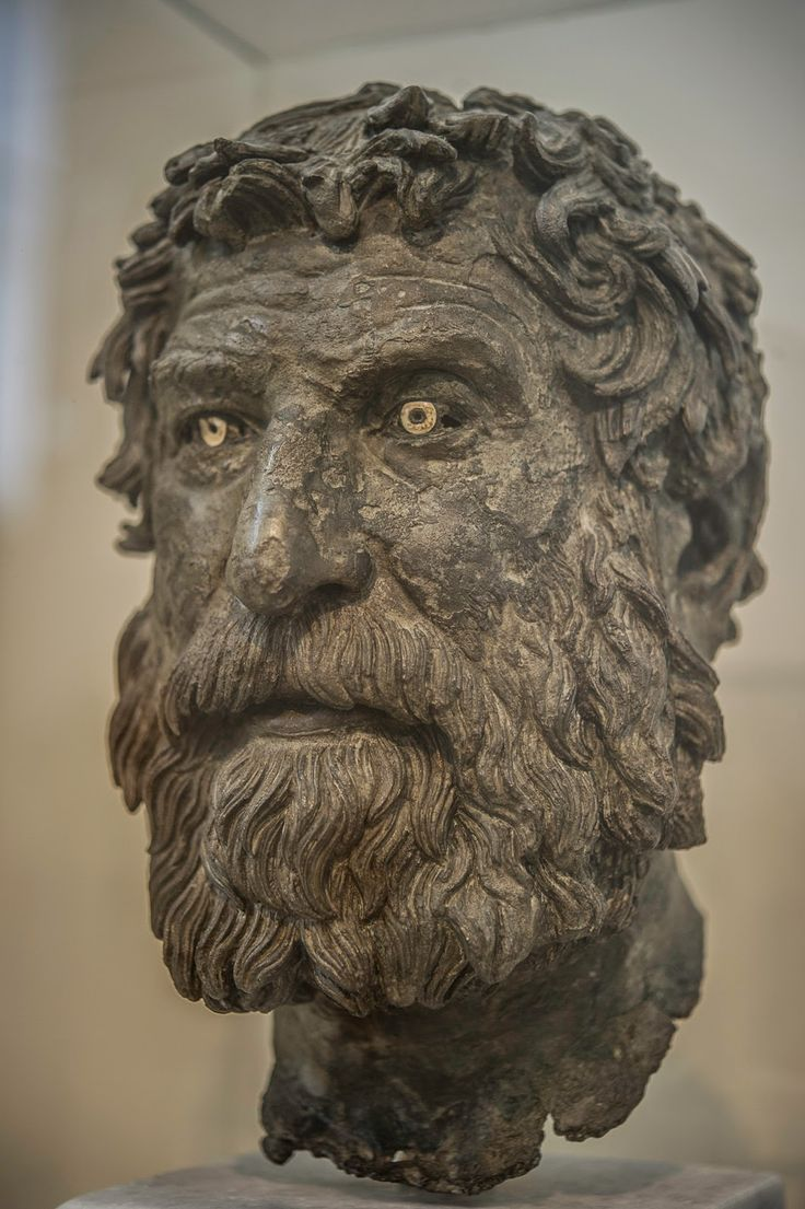 "museum-of-artifacts: ""Bronze portrait of a philosopher recovered from the Antikythera shipwreck (crafted circa 240 BC) """