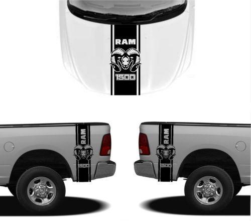 3X DODGE HOOD FENDER DECALS RAM HEMI 1500 2500 graphics vinyl body stickers
