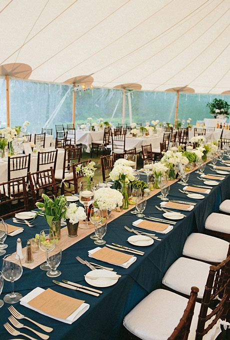 Navy and Ivory Wedding Reception Decor Receptions | Brides.com