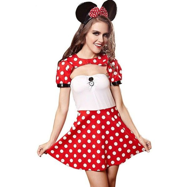Red Sexy Minnie Mouse Fancy Dress Costume (35 AUD) ❤ liked on Polyvore featuring costumes, fancy halloween costumes, minnie mouse halloween costume, polka dot costume, mouse costume and fancy costumes