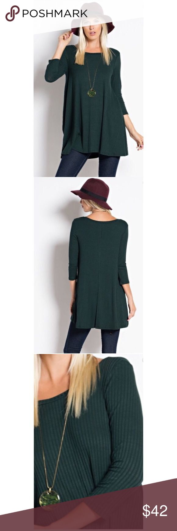 Robbed Tunic Top Adorable Heather Green Tunic Top. perfect for fall. Pair it with leggings and boots! Fabric: 95% Rayon, 5% Lycra Love In Tops Tunics