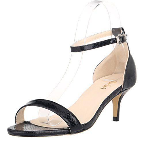 Women's Mid Heels Open Toe Crocodile Grain Summer Shoes Buckle Up Sandals(ZBB1051XEY40black)
