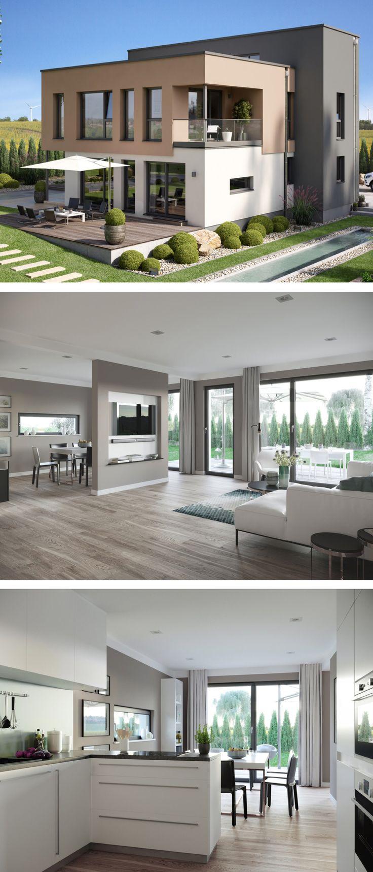 Moderne Stadtvilla im Bauhausstil mit Flachdach Architektur & Garage – Haus bauen Einfamilienhaus Concept-M 198 Bien Zenker Fertighaus Ideen – HausbauDirekt.de