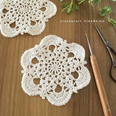 Noteエミーグランデ Color No.8042/0号かぎ針・11cmPatternmemo作り目はわから編む方法で細編み6目。前段の鎖編みに編むところは束で拾って編みます。