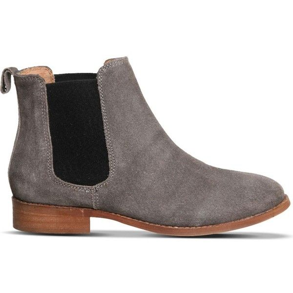 OFFICE Bramble suede chelsea boots ($98) ❤ liked on Polyvore featuring shoes, boots, ankle booties, grey suede, gray boots, grey suede booties, pull on boots, suede booties and grey booties