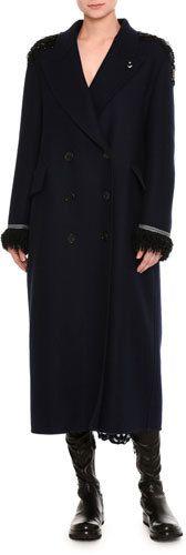 Ermanno Scervino Beaded Double-Breasted Virgin Wool Overcoat