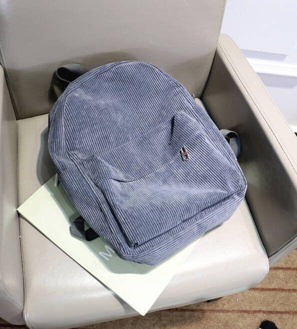 Women Backpack Solid Corduroy Backpack Simple Tote